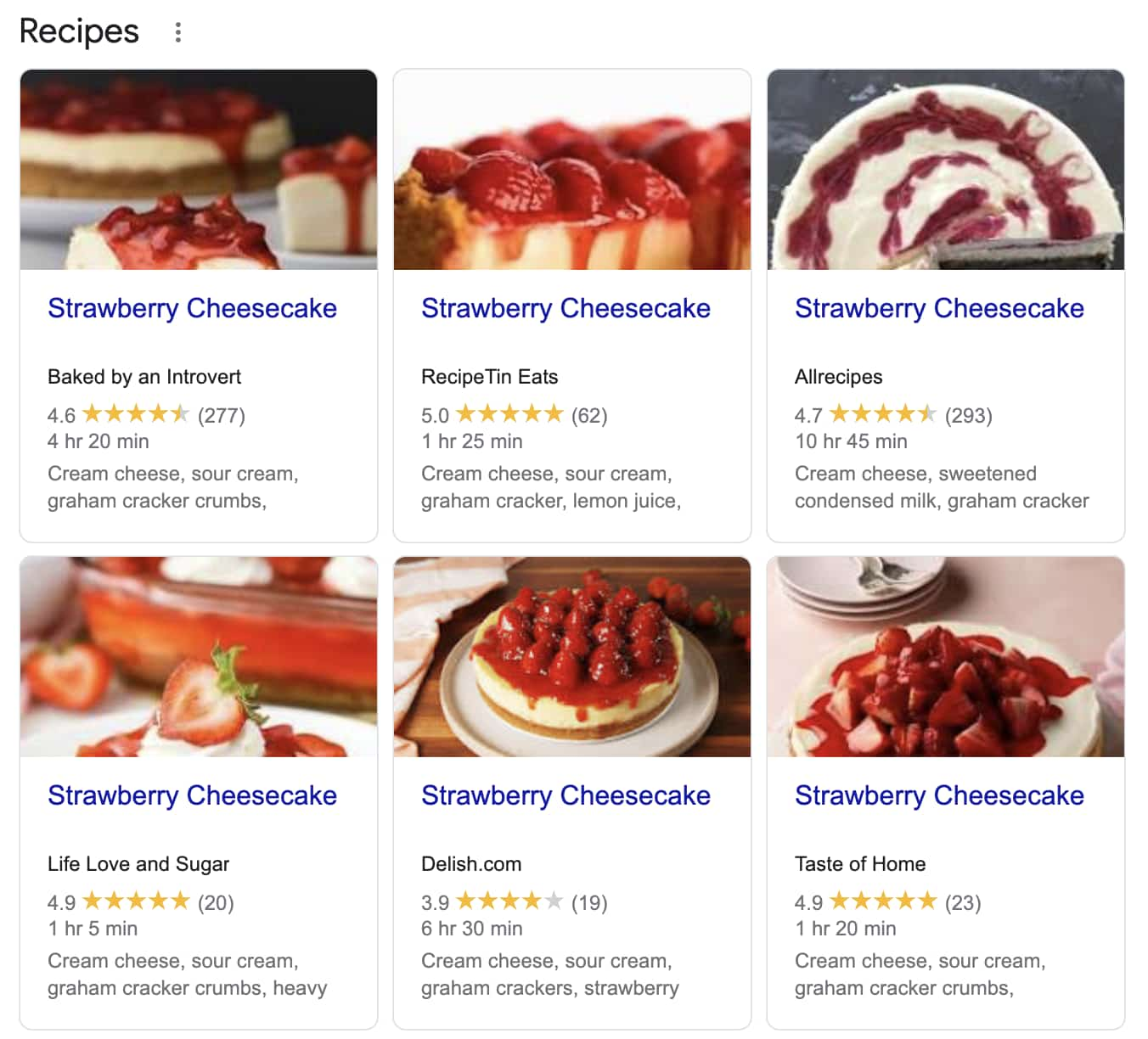 Food Blog SEO: Example of highly competitive recipe keywords, strawberry cheesecake in google search results