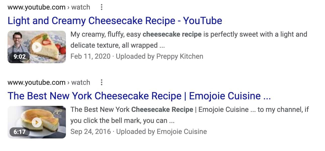 Food Blog SEO: Examples of video search results for cheesecake recipes