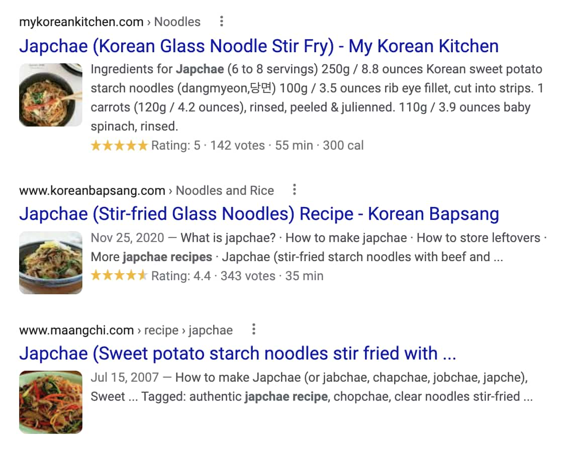Food Blog SEO: Screenshot of enhanced recipe search result
